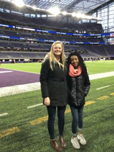 Haylee and Ana on the field at US Bank Stadium